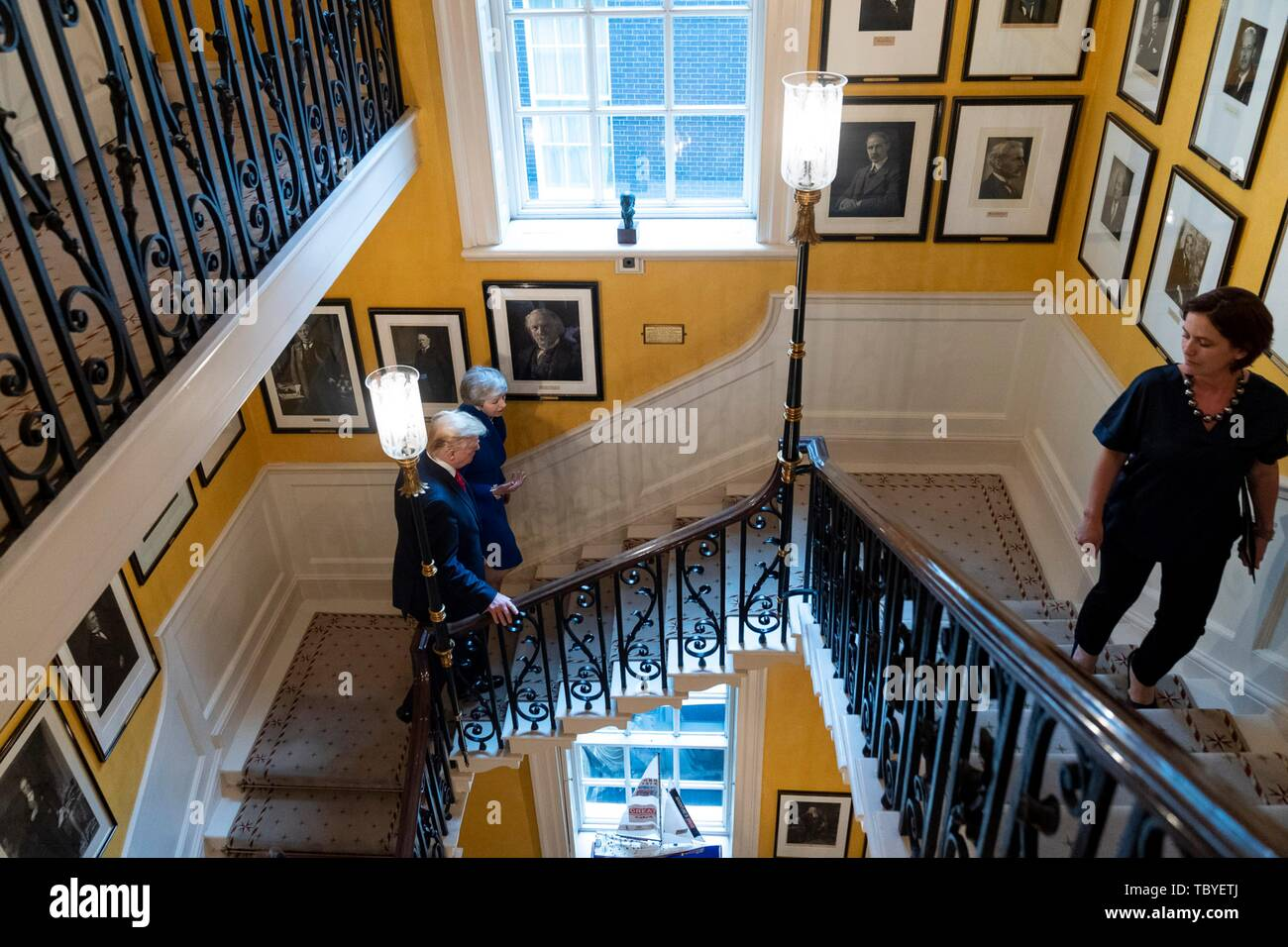 London, UK. 04th June, 2019. U.S President Donald Trump and outgoing British Prime Minister Theresa May walk to their bilateral meeting at No. 10 Downing Street June 4, 2019 in London, England. Credit: Planetpix/Alamy Live News - Stock Image