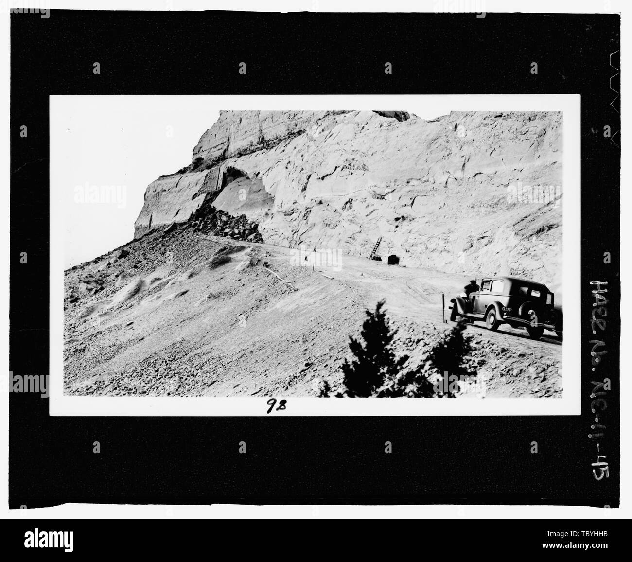 March 26, 1935 View of the big slide of several hundred cubic yards of rock, spring of 1934. Another slide occurred at this same location on May 26, 1935.  Scotts Bluff Summit Road, Gering, Scotts Bluff County, NE - Stock Image