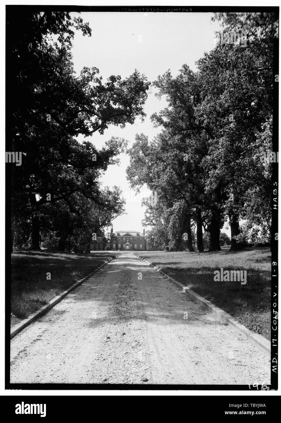 May 27, 1936 1000 A.M. DISTANT View From North (Front) ALONG ROADWAY  Belair, Tulip Grove Drive, BelairatBowie, Bowie, Prince George's County, MD Ogle, Samuel Tasker, Benjamin Tasker, Benjamin Franklin, Benjamin Sharpe, Horatio Ogle, Benjamin Woodward, James T Levitt and Sons Klugh, Terra, transmitter Brostrup, John O, photographer Nichols, Frederick D, photographer Boucher, Jack, photographer Klugh, Terra, historian Price, Virginia B, transmitter - Stock Image