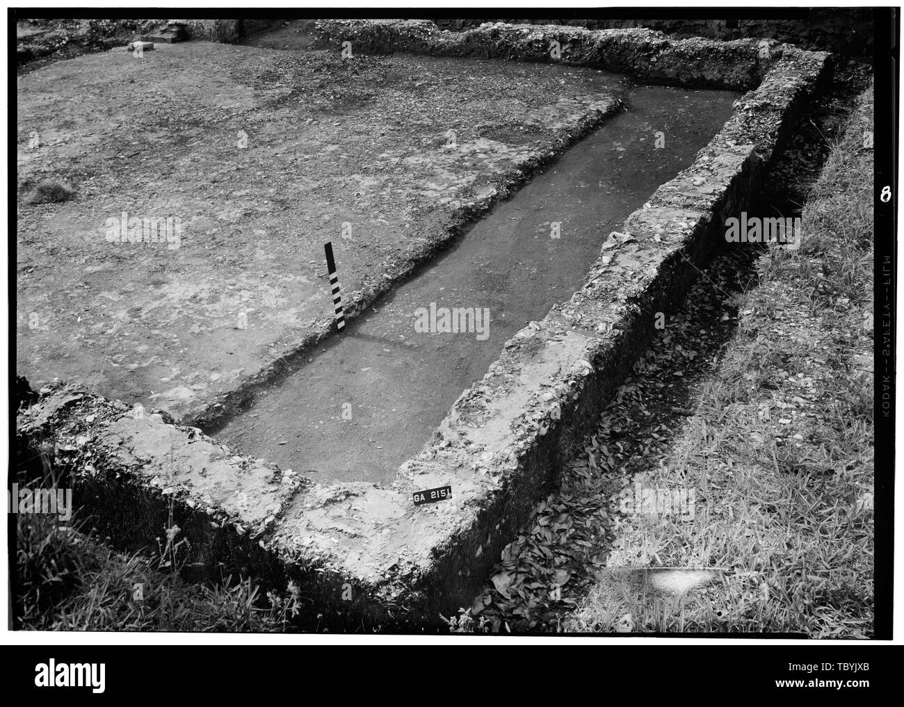 May, 1958 RECESSED FLOOR FROM NORTHWEST  Fort Frederica, Welch House (Ruins), Lot No. 5, South Ward, Saint Simons Island, Glynn County, GA - Stock Image