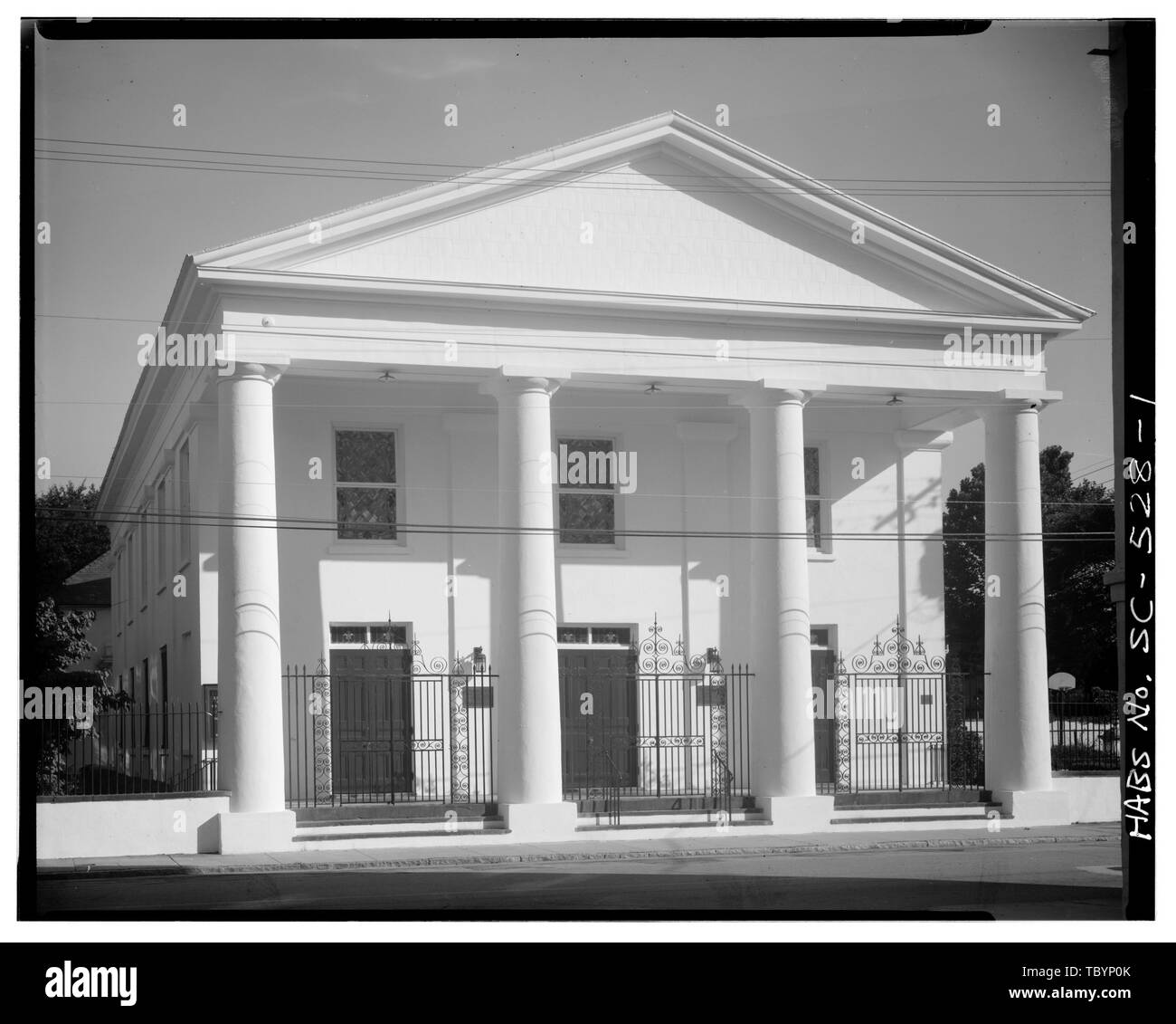 NORTH (FRONT) ELEVATION  St. Johannes Lutheran Church, 48 Hasell Street, Charleston, Charleston County, SC - Stock Image