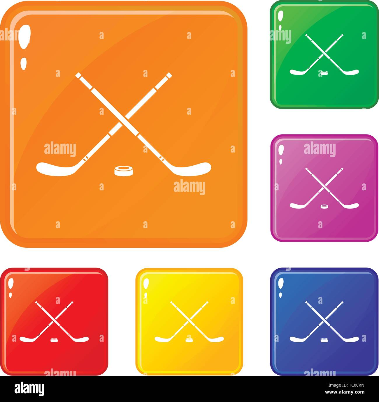 Hockey icons set vector color - Stock Vector