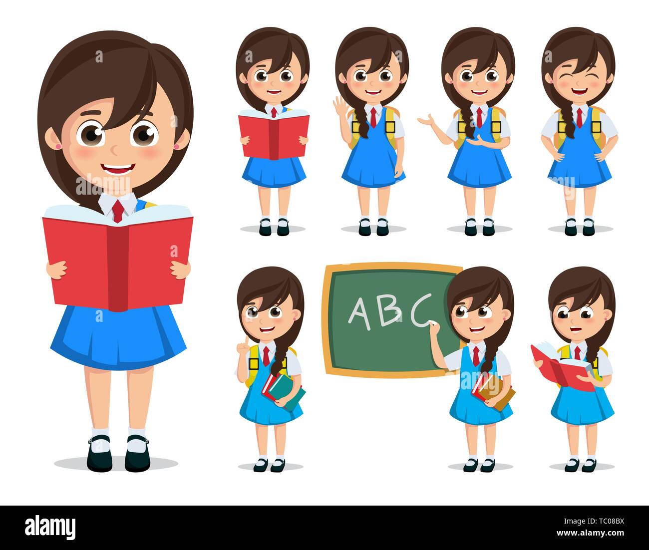 School Girl Student Vector Character Set Back To School Kid Cartoon Character Wearing Uniform Reading Books And Doing Education Activities In White Stock Vector Image Art Alamy