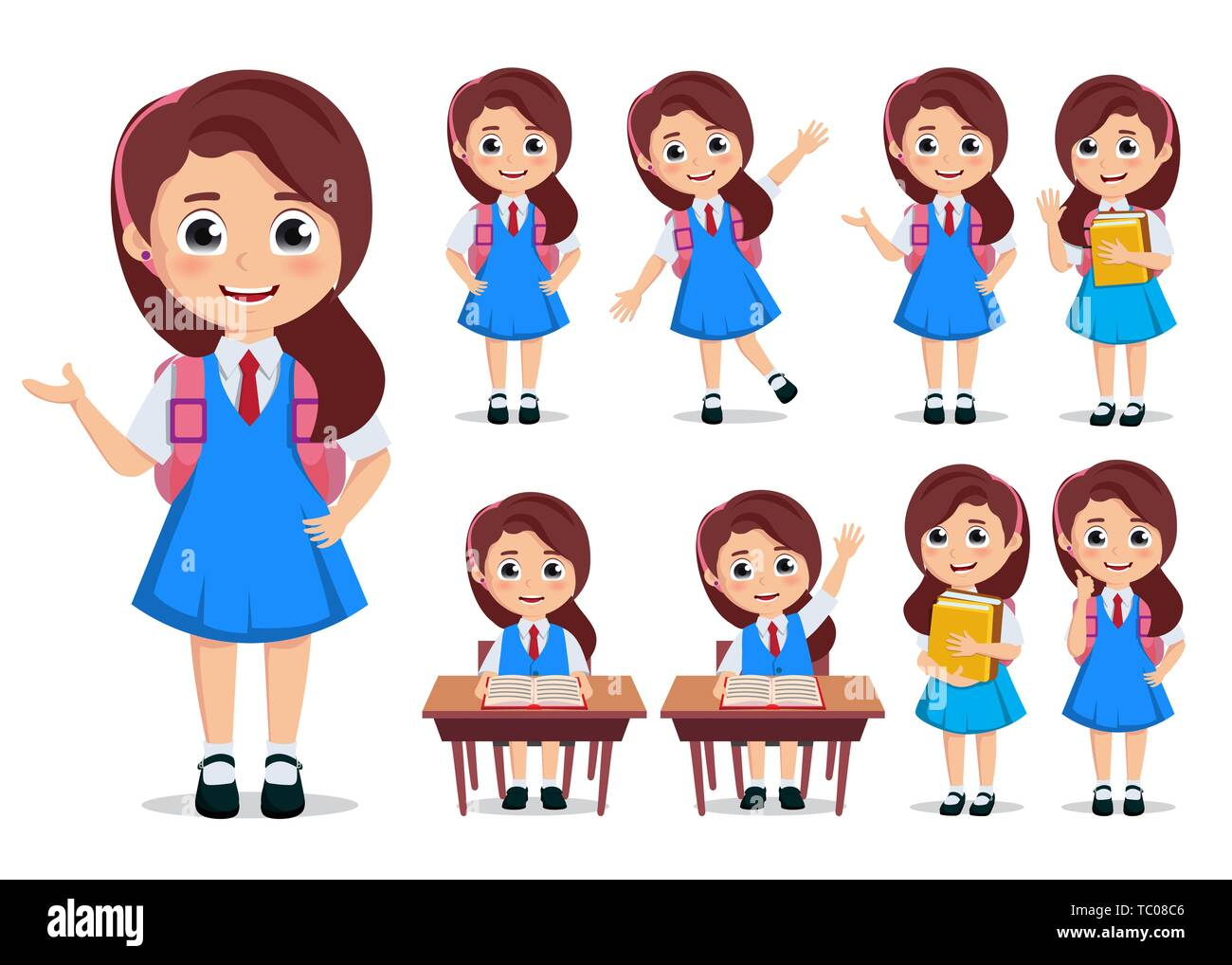Student Girl Vector Character Set School Kids Cartoon Characters Wearing Uniform And Backpack With Various Pose And Gestures While Doing Educational Stock Vector Image Art Alamy