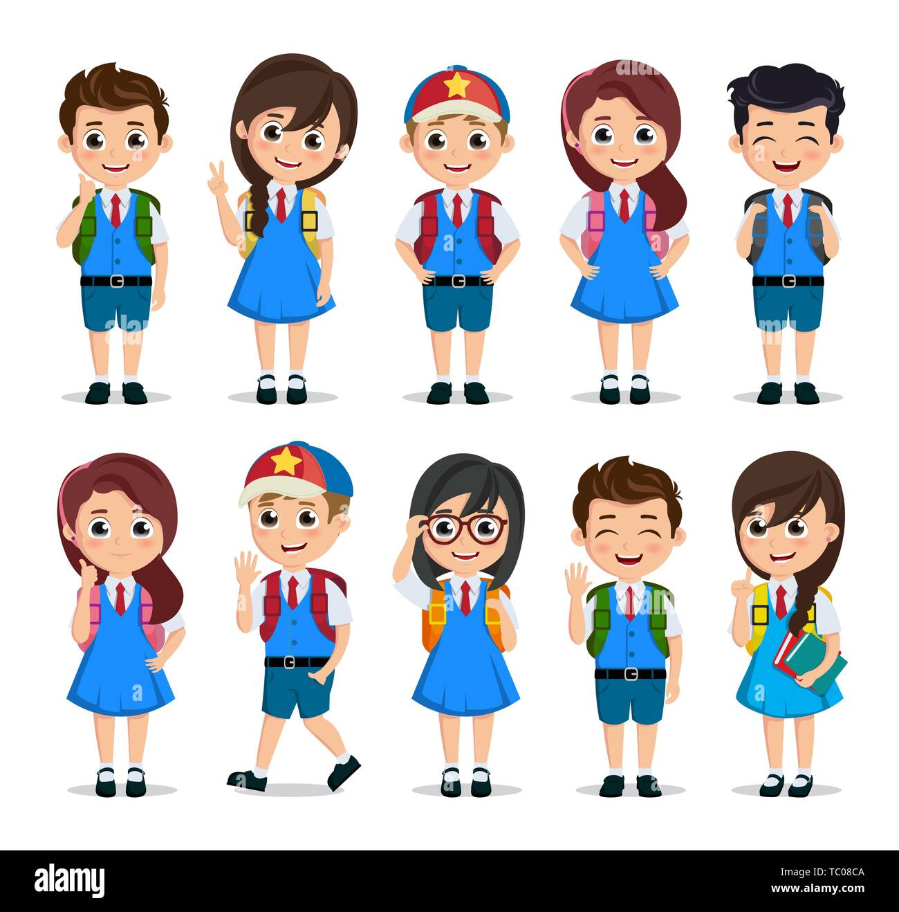 Student Characters Vector Set School Kids Cartoon Characters Wearing School Uniform With Various Poses And Gestures For Education Related Design Stock Vector Image Art Alamy