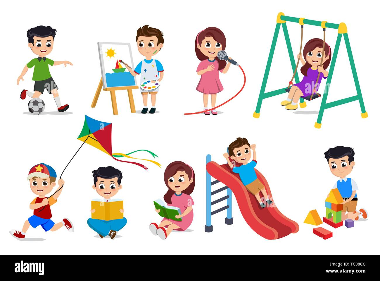 Kids Playing Vector Characters Set Young Boys And Girls Doing