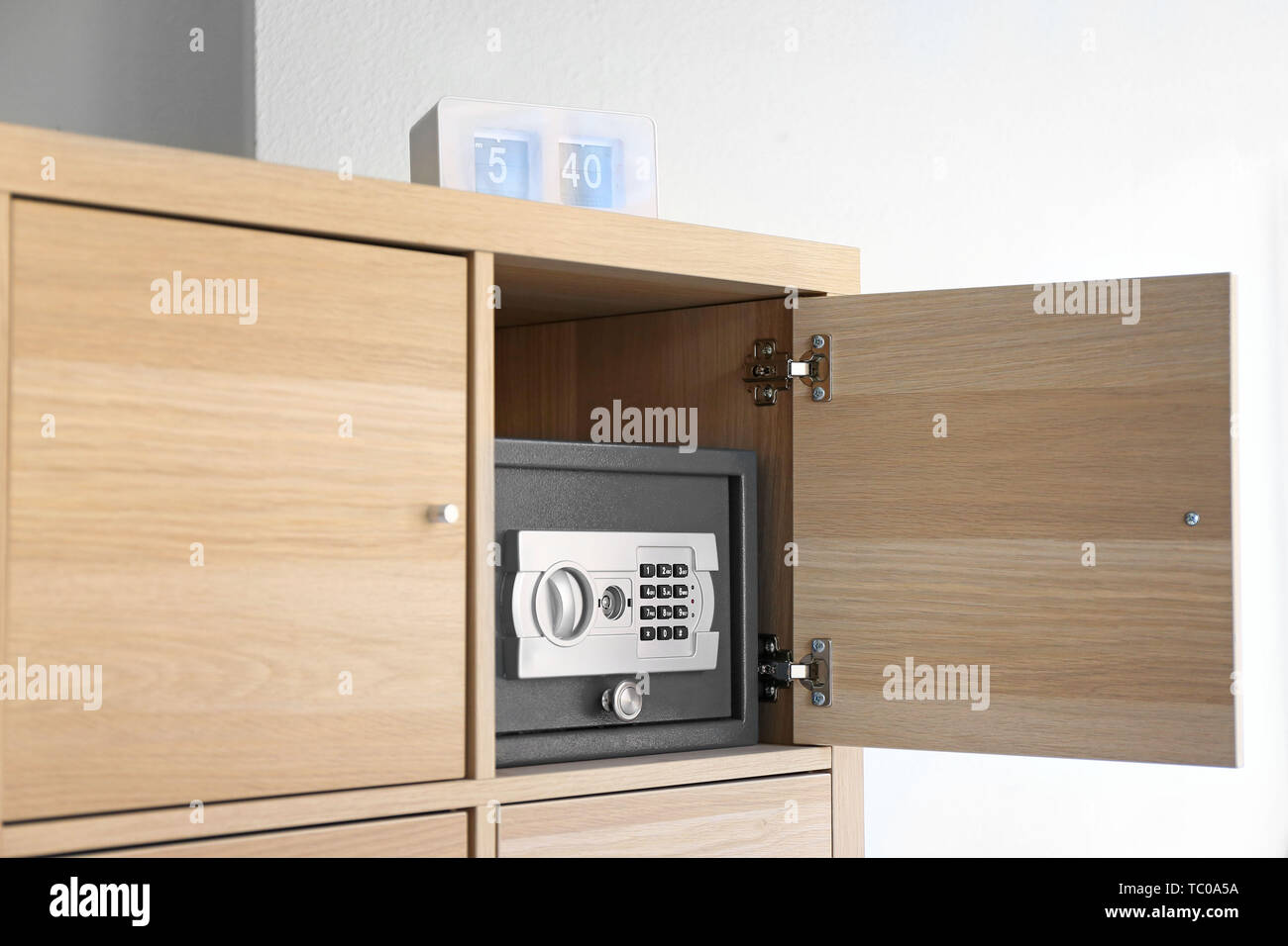 Picture of: Modern Small Safe In Cabinet Stock Photo Alamy