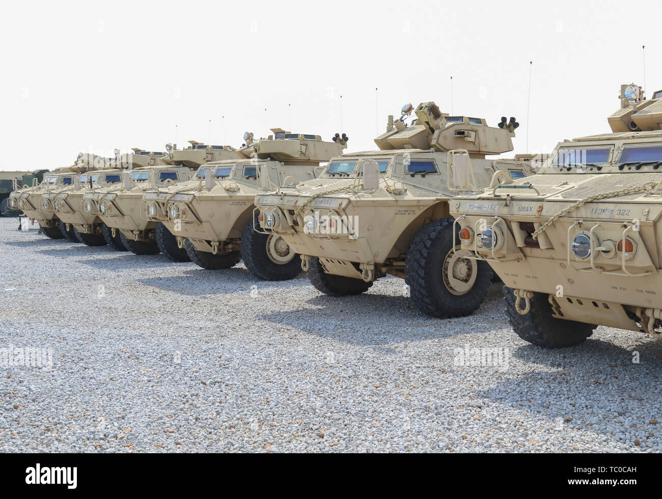 Armored Security Vehicles of the 113th Military Police Company, Mississippi Army National Guard, are staged prior to a training exercise May 31, 2019 at Camp McCain, Mississippi. The vehicles are being used for Ardent Sentry 2019, a North American Aerospace Defense Command and U.S. Northern Command exercise focused on defense support of civil authorities during a simulated New Madrid Seismic Zone 7.7 magnitude earthquake. (Mississippi Army National Guard photo by PFC Austin Eldridge) - Stock Image