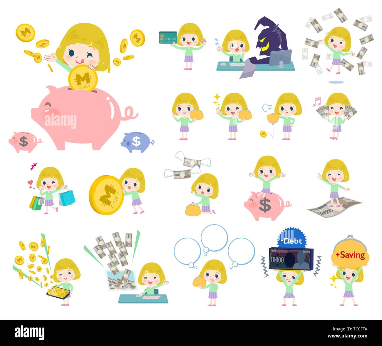 A set of Caucasian girl with concerning money and economy.There are also actions on success and failure.It's vector art so it's easy to edit. - Stock Image