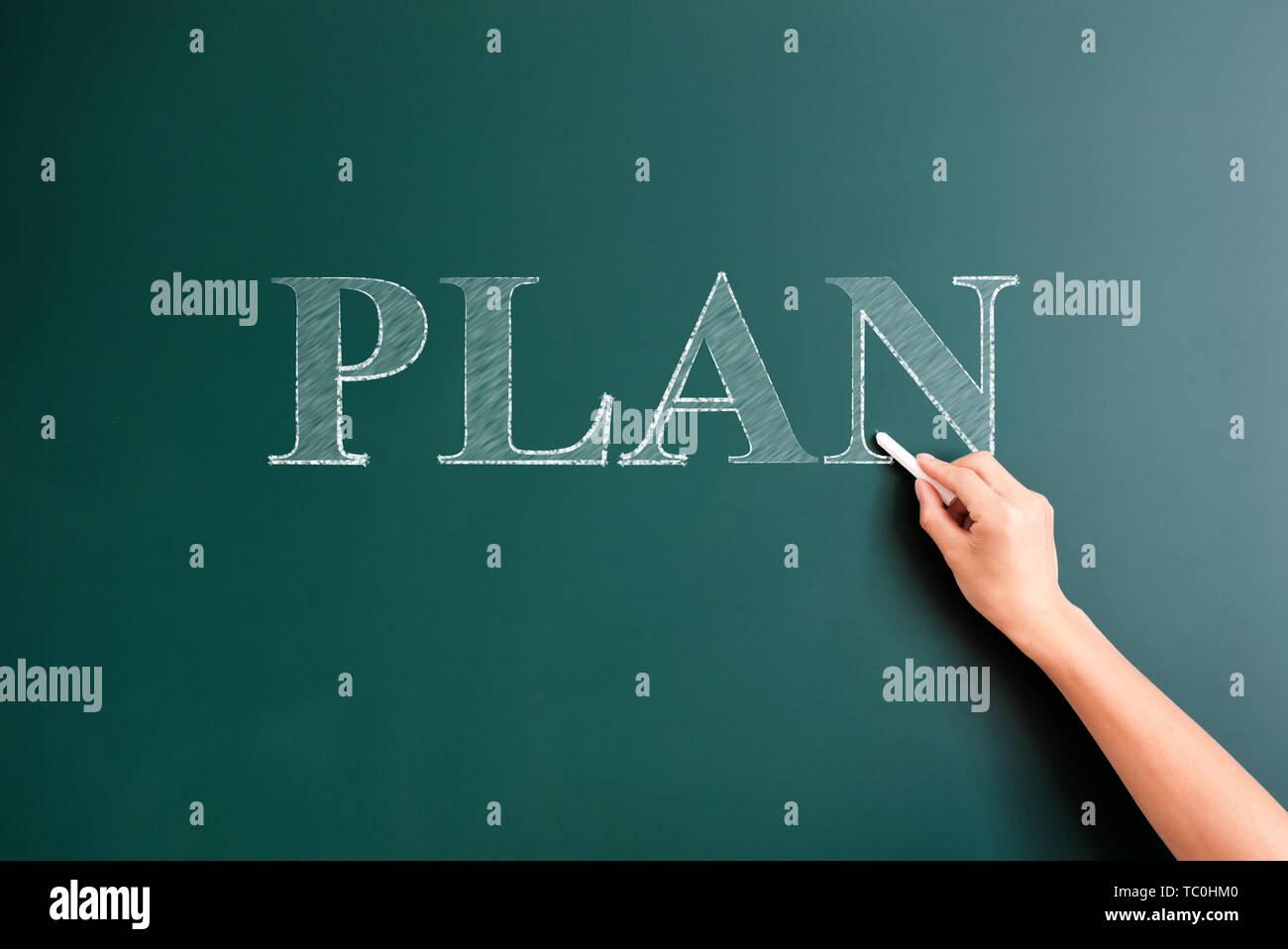 plan written on blackboard - Stock Image