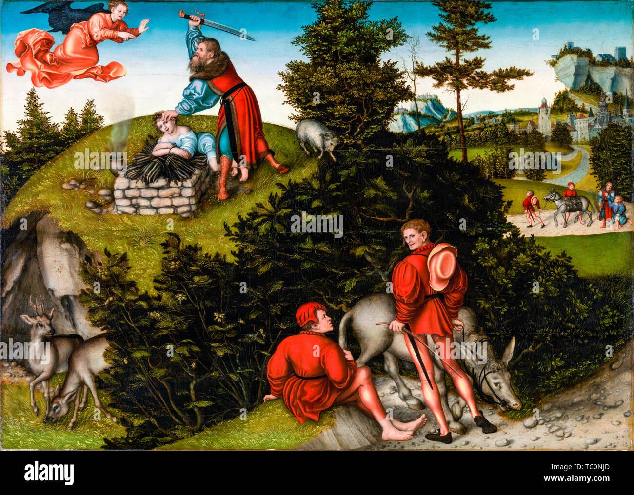 Lucas Cranach the Elder, The Sacrifice of Abraham, painting, 1530 - Stock Image