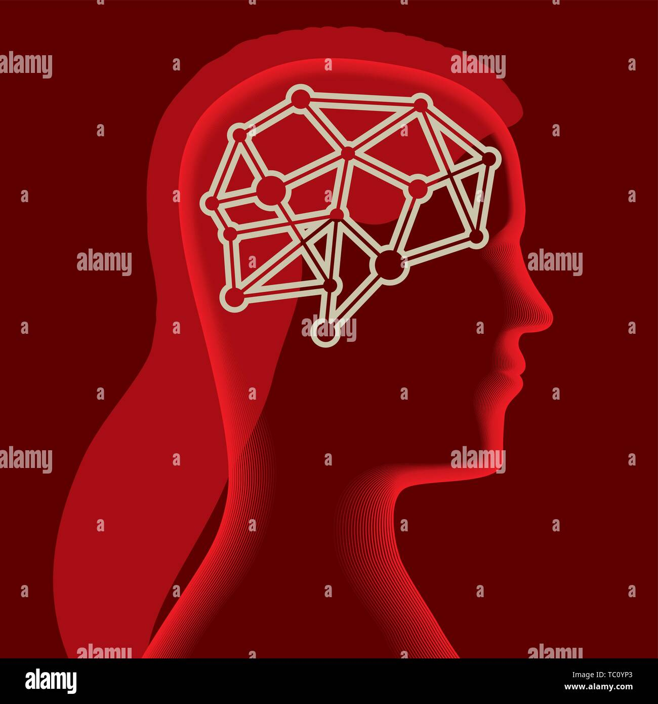 Vector illustration. Brain icon over a soft female head silhouette in red. - Stock Vector