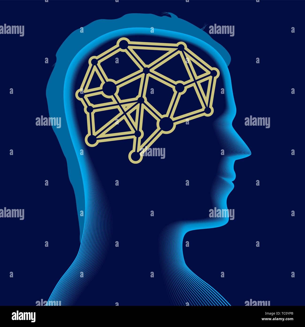 Vector illustration. Brain icon over a soft male head silhouette in blue. - Stock Vector