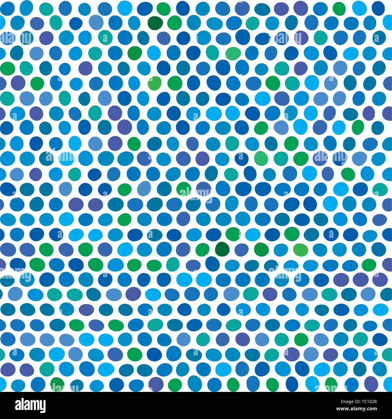 Vector illustration. Seamless background of blue and green dots. - Stock Vector
