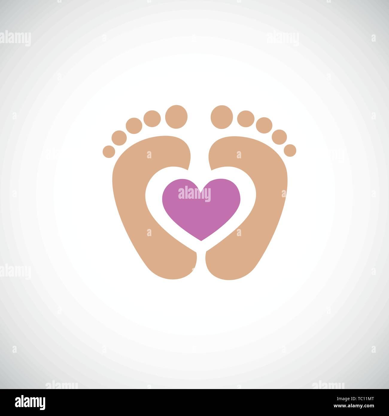 baby feet footprint with pink heart vector illustraton - Stock Vector