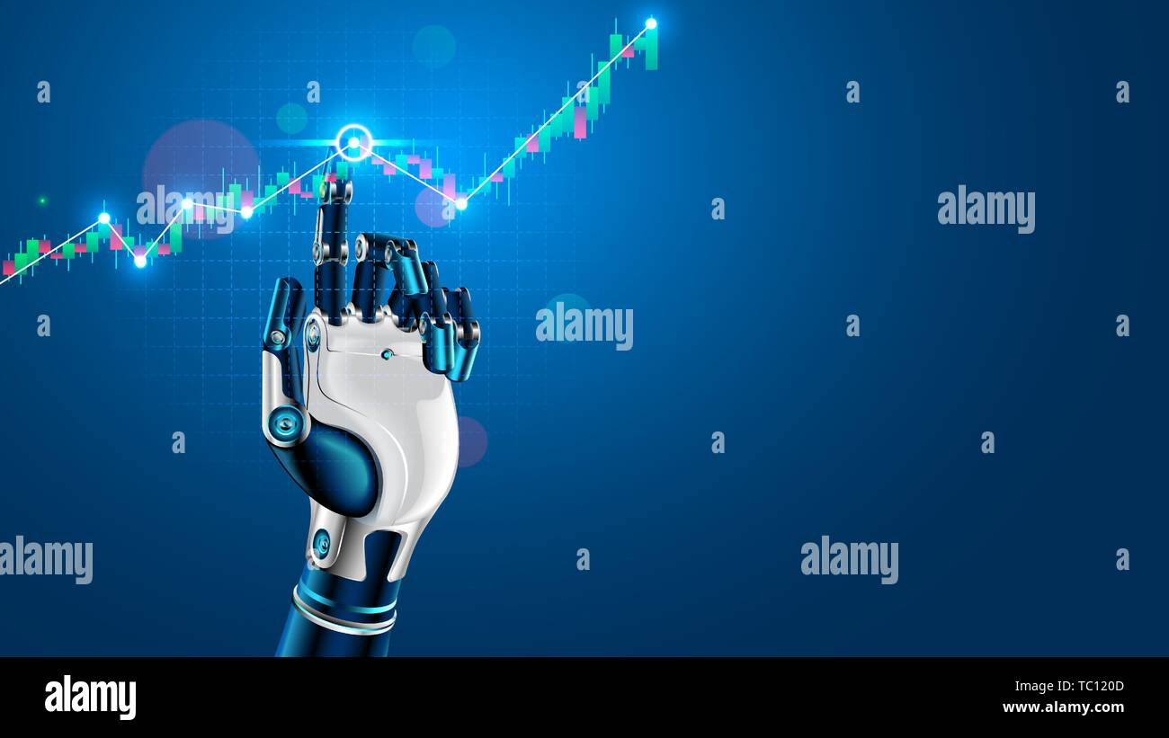 Robot or cyborg hand taps finger on chart of trading data of