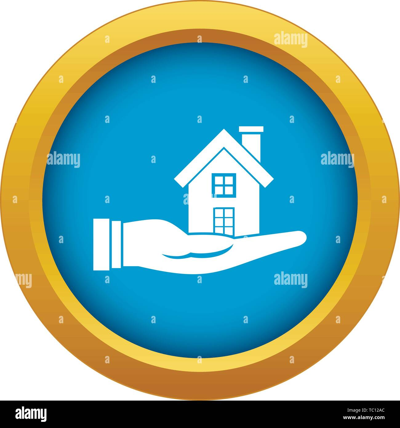 House in hand icon blue vector isolated - Stock Image