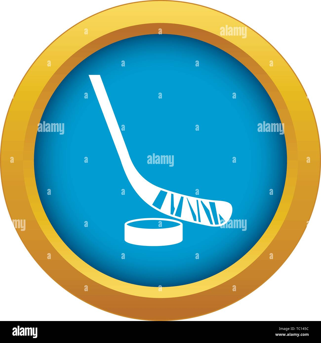 Stick and puck icon blue vector isolated - Stock Vector