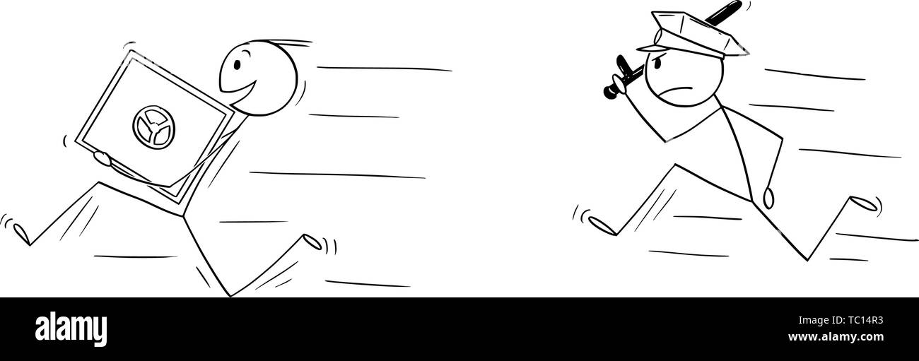 Vector cartoon stick figure drawing conceptual illustration of man or businessman thief smiling and running with bank vault or safe in hands. Policeman is chasing him. - Stock Image