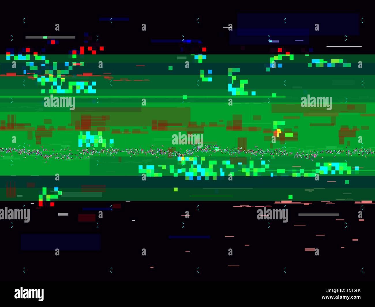 Glitch distortion background  Broken video signal  Glitched
