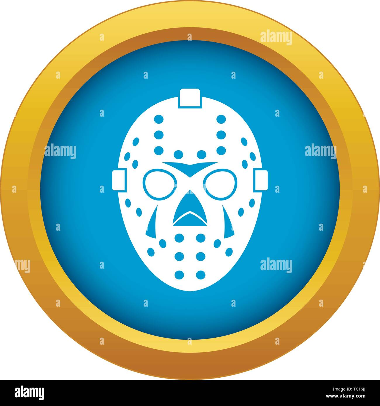 Goalkeeper mask icon blue vector isolated - Stock Image