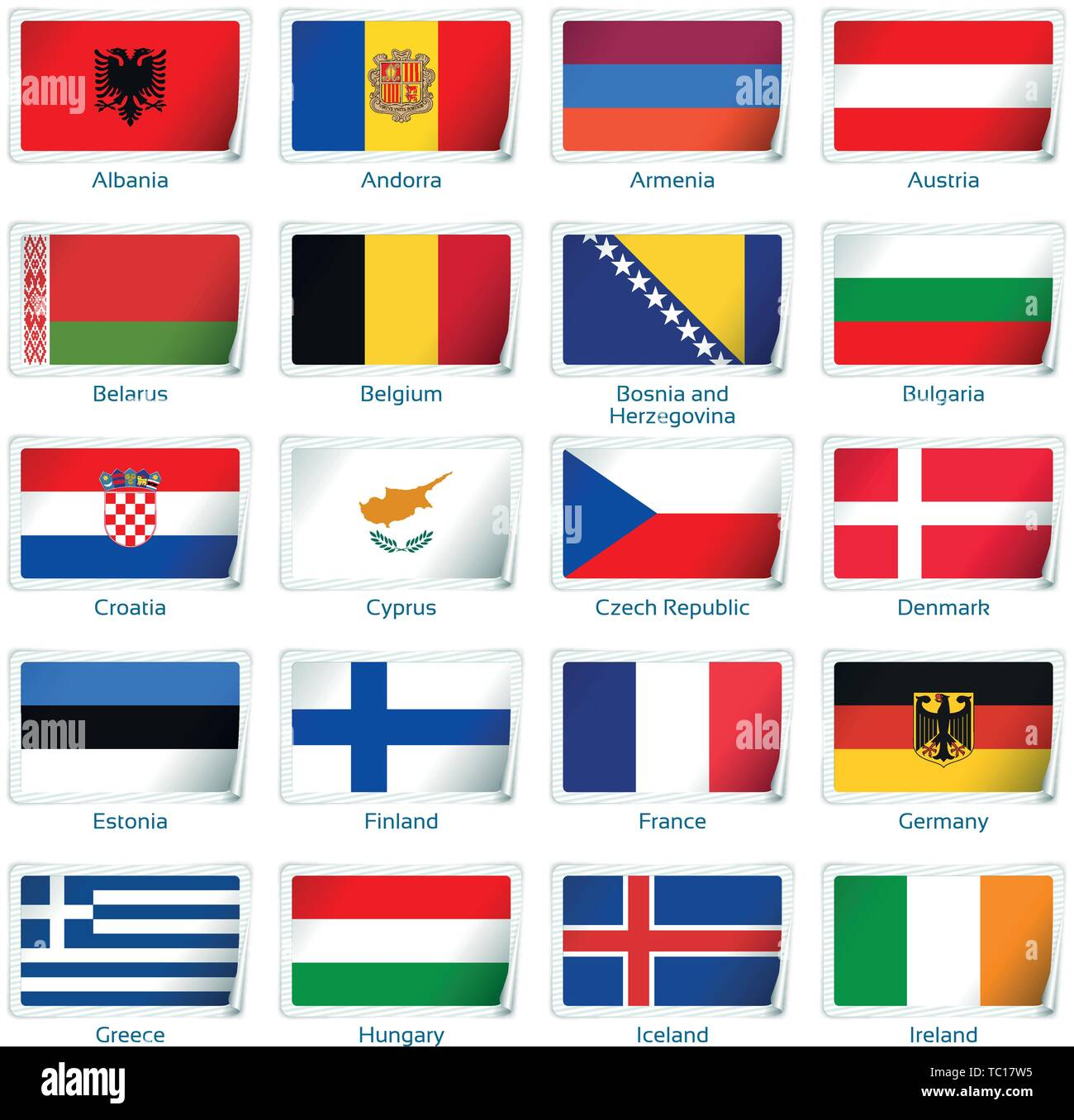 Sticker flags Europe one. Vector illustration. 3 layers. Shadows, flat flag you can use it separately, sticker. Collection of 220 world flags. Accurate colors. Easy changes. - Stock Vector