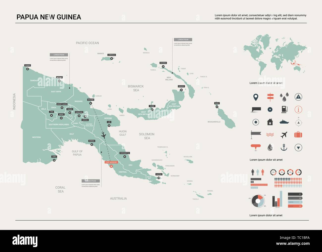 Vector Map Of Papua New Guinea Country Map With Division Cities And Capital Port Moresby Political Map World Map Infographic Elements Stock Vector Image Art Alamy