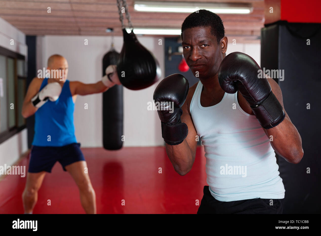 Potrait of smiling cheerful positive african american boxer who is training in gym - Stock Image