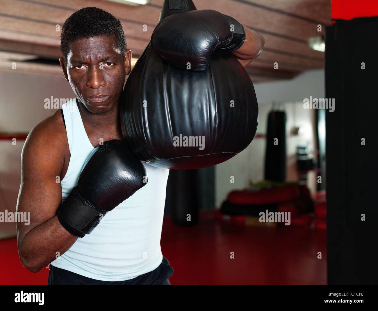Potrait of glad cheerful positive african american boxer who is training in gym - Stock Image