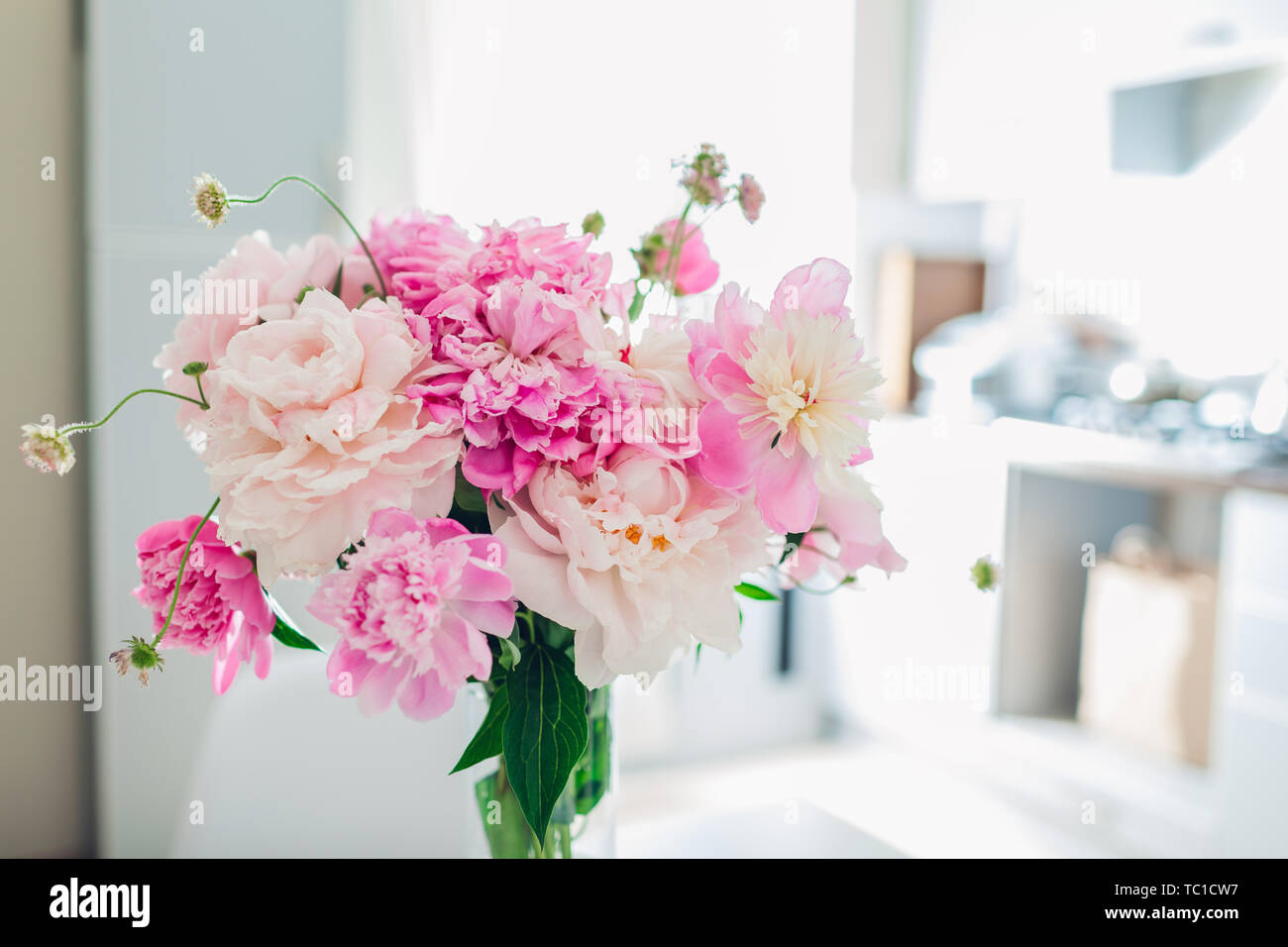 Pink Peonies Modern Kitchen Design Interior Of White And Silver Kitchen Decorated With Bouquet Of Fresh Flowers Stock Photo Alamy