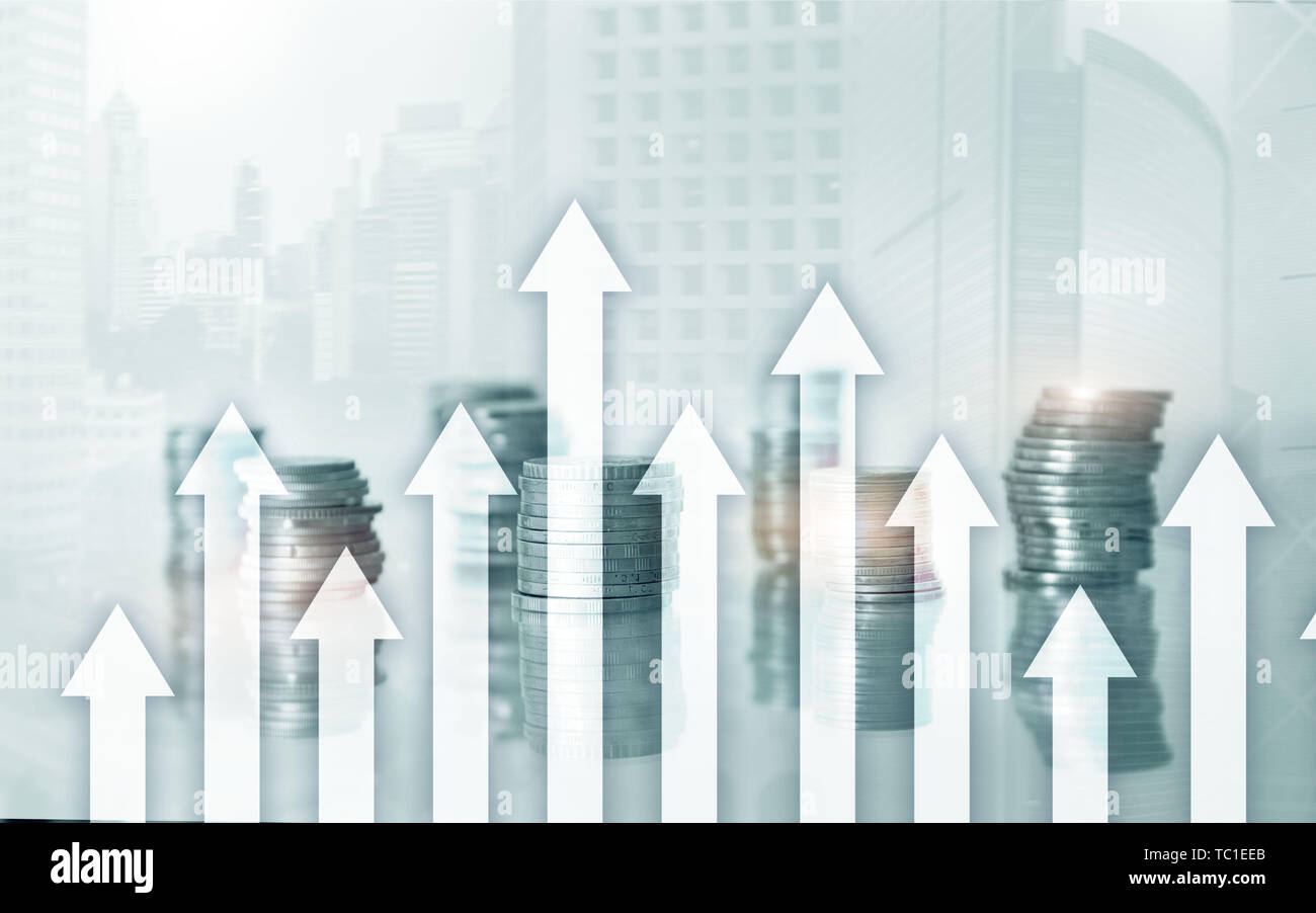 Growth up arrows on futuristic abstract background. Investing or savings to growth up money or business concept. - Stock Image