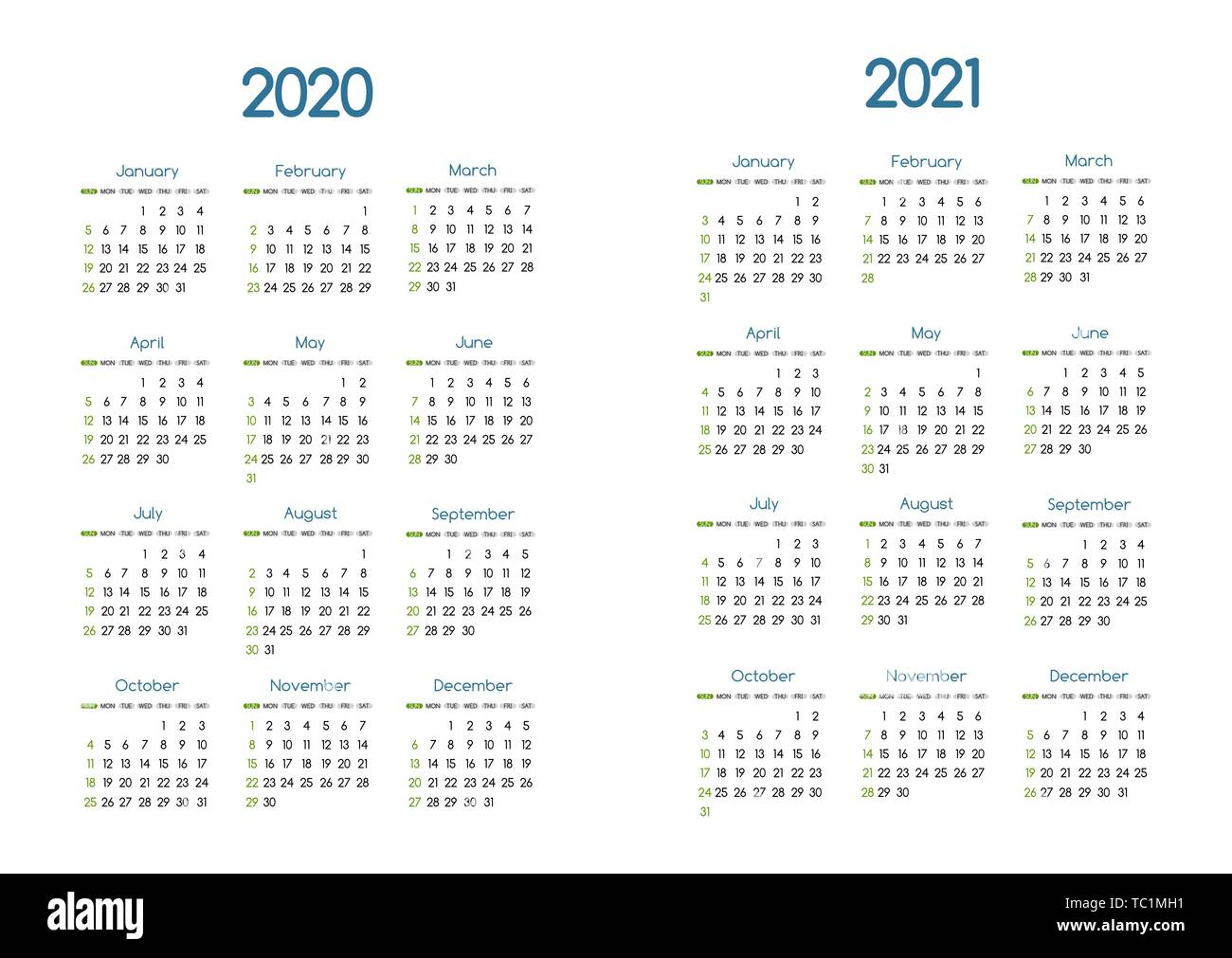 New year 2020 and 2021 vector calendar modern simple design with