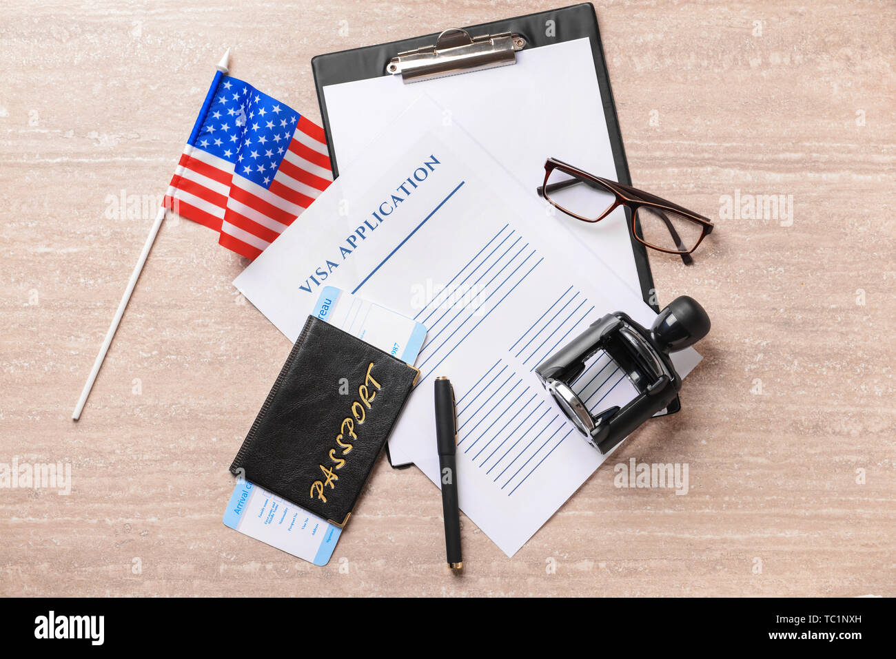 Visa Application Form Passport Stamp And Usa Flag On Table Concept Of Immigration Stock Photo Alamy