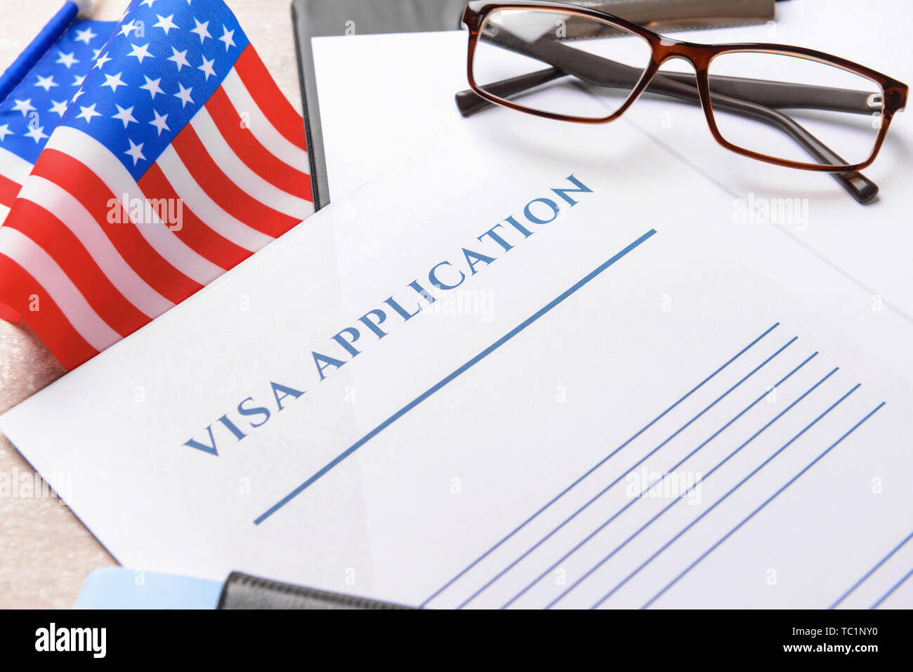 Visa Application Form And Usa Flag On Table Closeup Concept Of Immigration Stock Photo Alamy