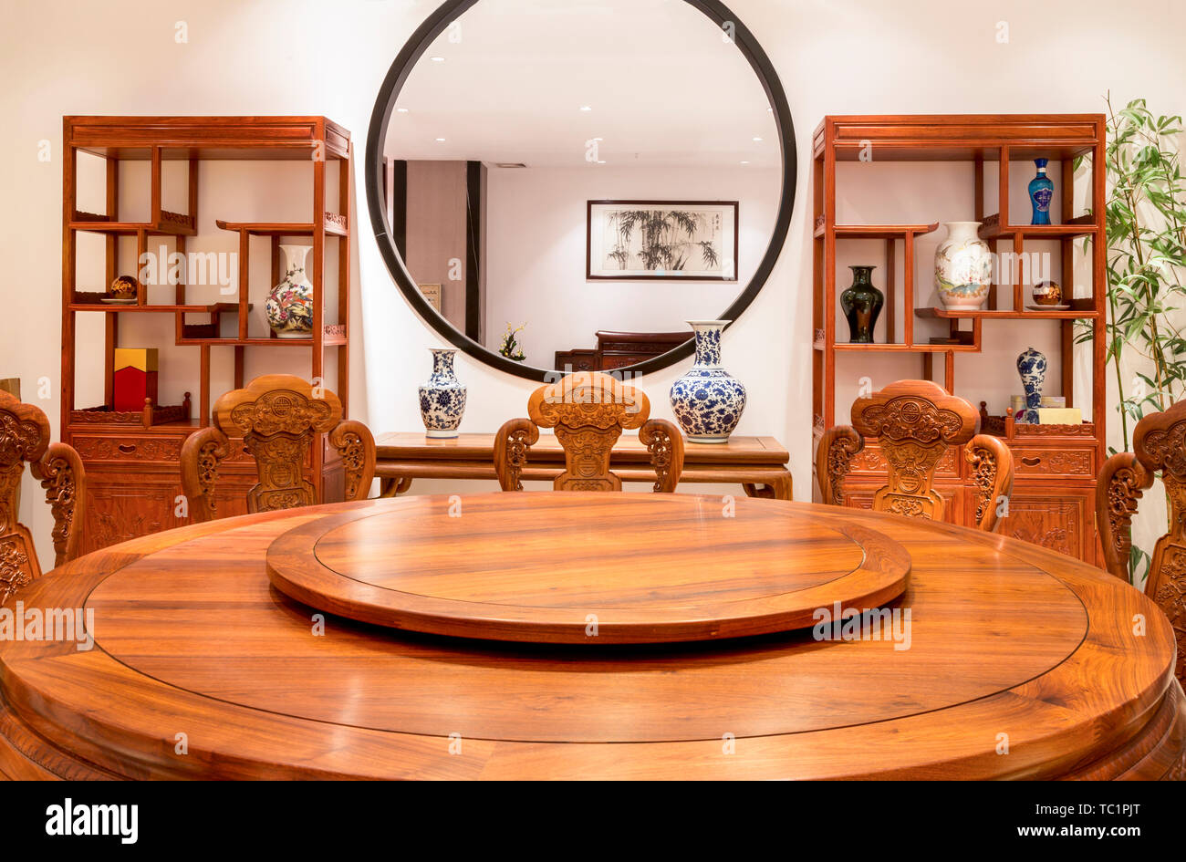 Modern Chinese Dining Room Wood Furniture Stock Photo Alamy