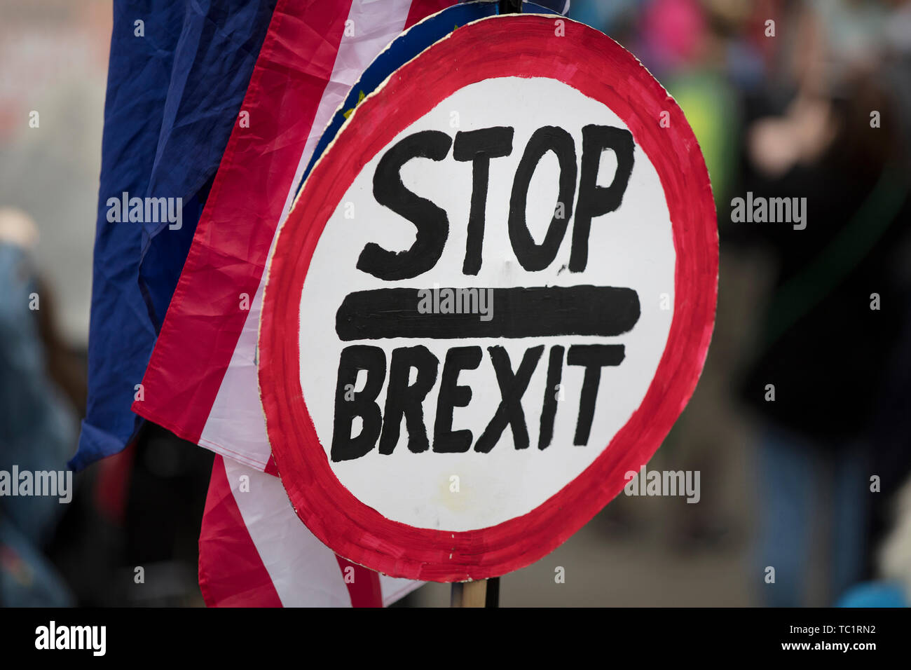 Stop brexit sign at a political protest in London Stock Photo