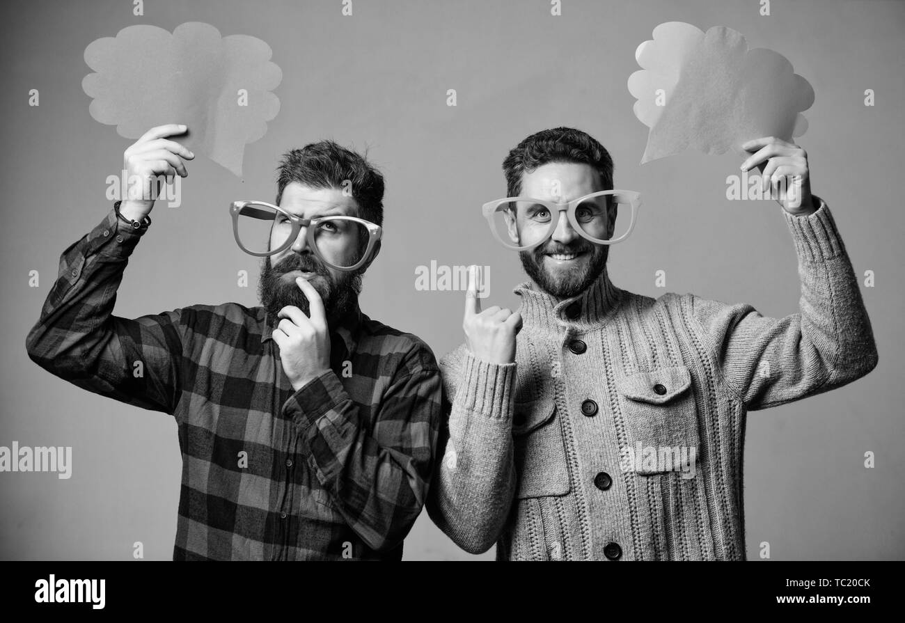 Comic and humor sense. Men with beard and mustache mature hipster wear funny eyeglasses. Explain humor concept. Funny story and humor. Comic idea. Men joking. Share opinion speech bubble copy space. - Stock Image