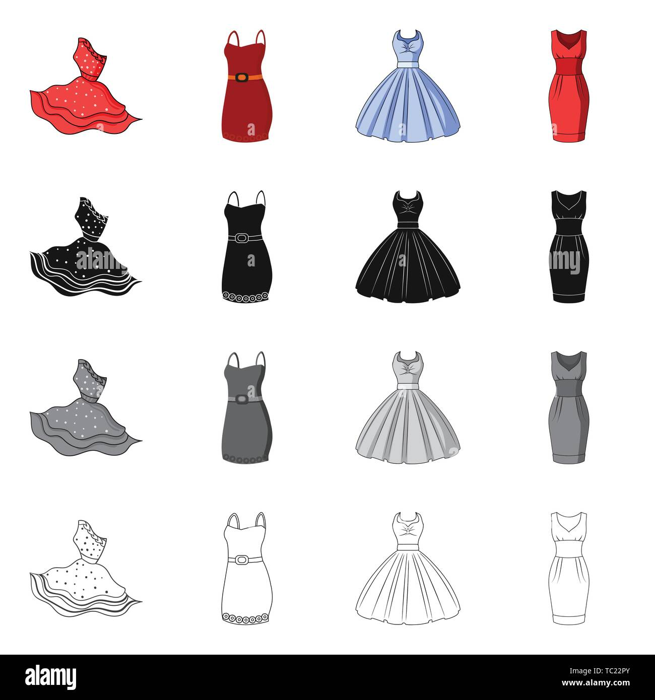 Vector illustration of dress and clothes logo. Collection of dress and evening stock vector illustration. - Stock Vector