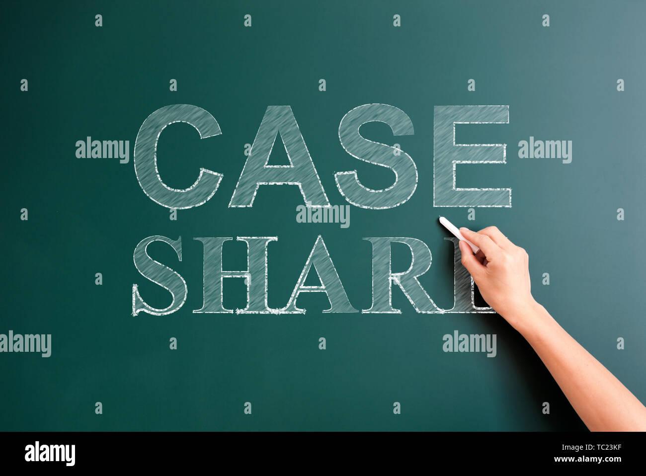 case share written on blackboard - Stock Image