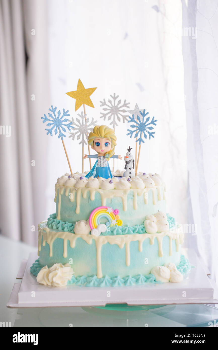 Fabulous Ice And Snow Themed Cream Birthday Cake Background Is White Funny Birthday Cards Online Elaedamsfinfo