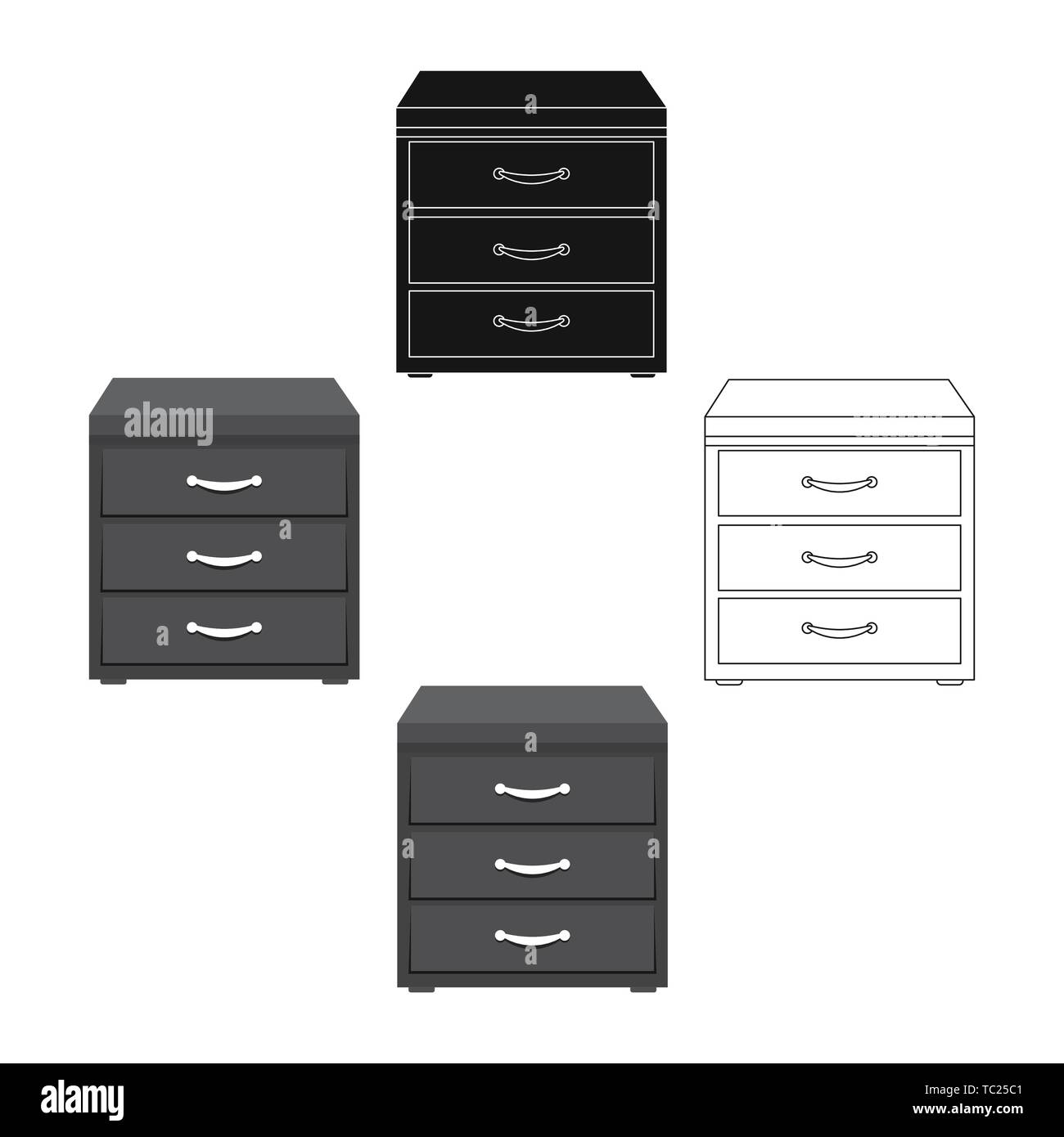 Office Filing Cabinet Icon In Cartoon Black Style Isolated On White Background Office Furniture And Interior Symbol Vector Illustration Stock Vector Image Art Alamy