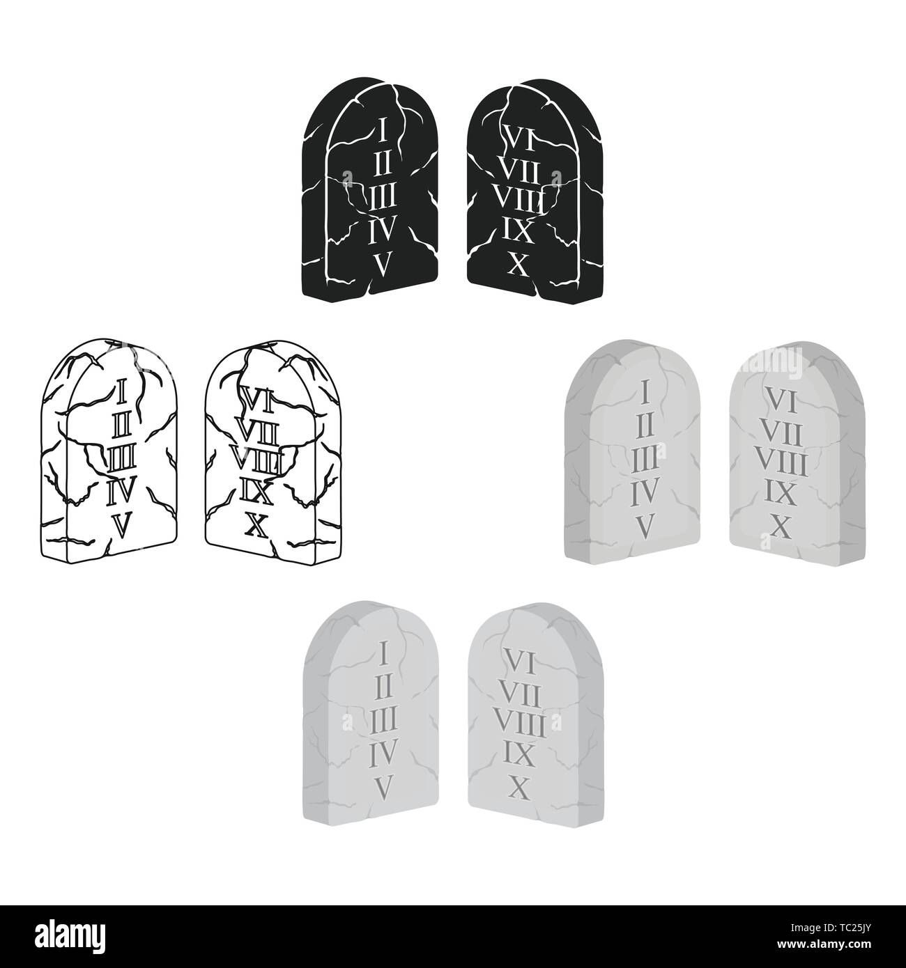 Ten Commandments icon in cartoon,black style isolated on white background. Religion symbol vector illustration. - Stock Vector