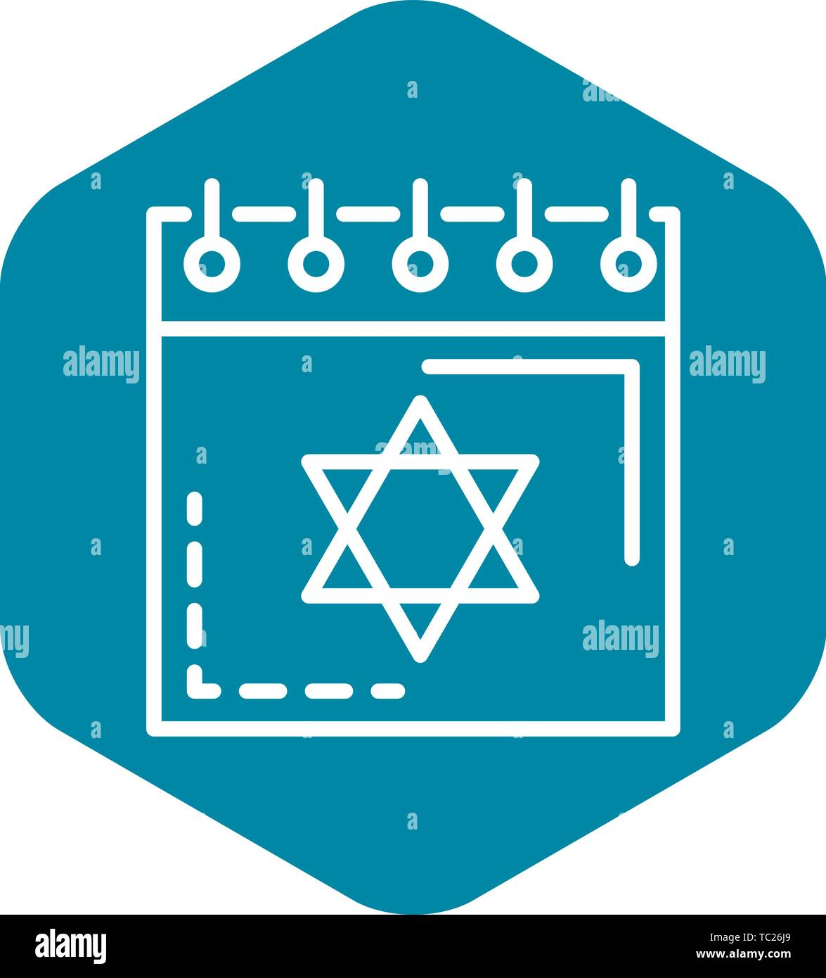 Jewish calendar icon, outline style - Stock Vector
