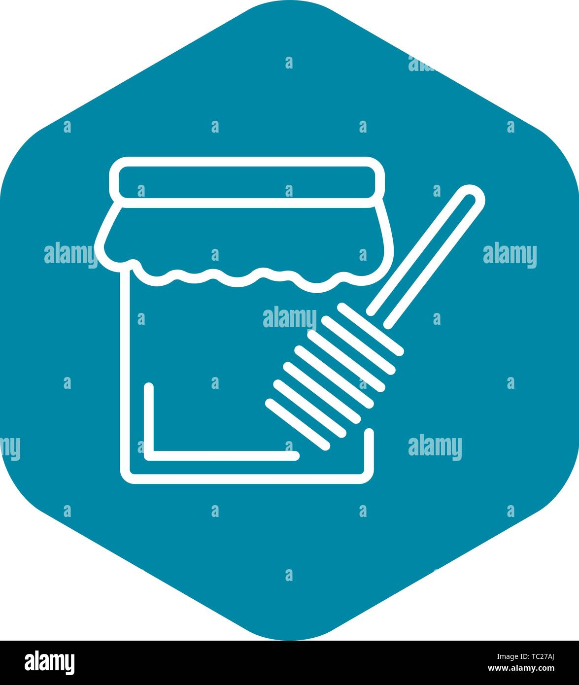 Hanukkah honey jar icon, outline style - Stock Vector