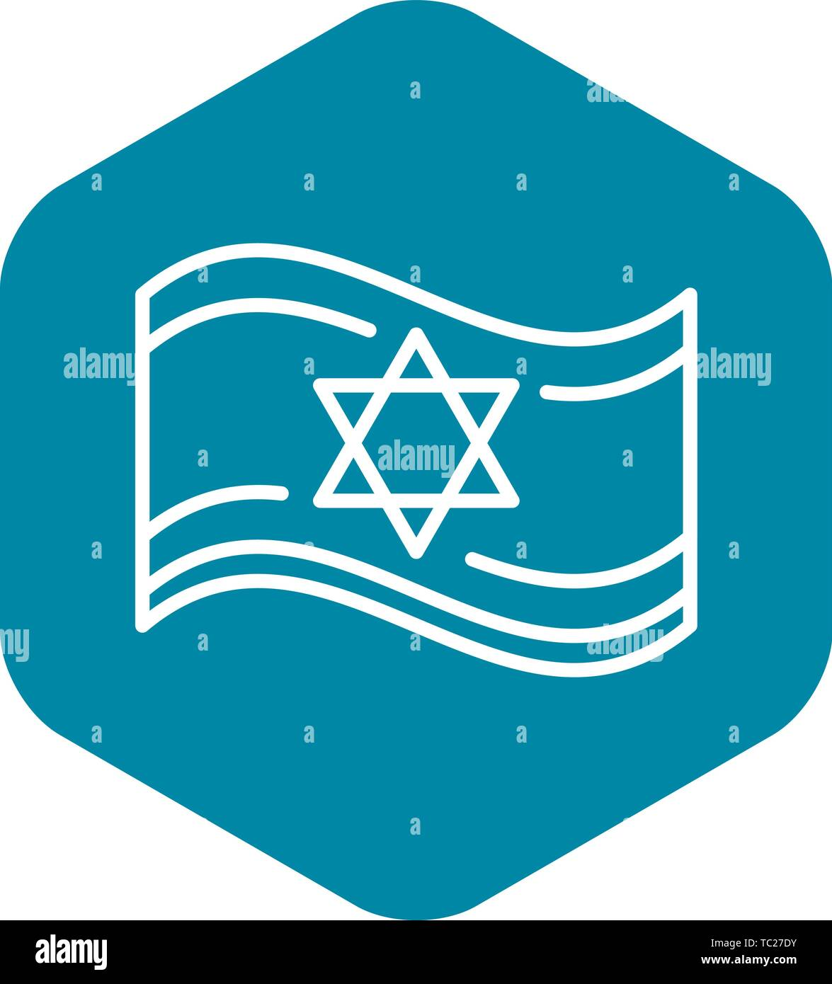 Jewish flag icon, outline style - Stock Vector