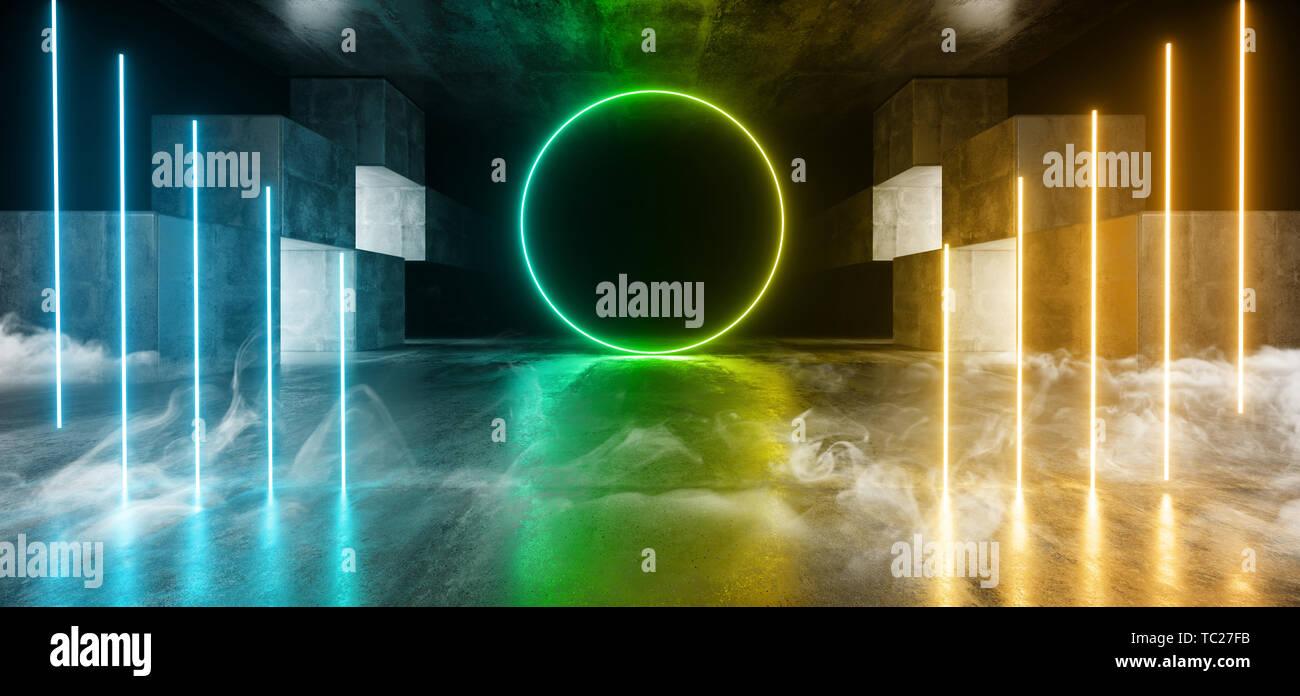 Smoke Future Neon Lights Graphic Glowing Orange Green Blue Vibrant Virtual Sci Fi Futuristic Tunnel Studio Stage Construction Garage Podium Spaceship  - Stock Image