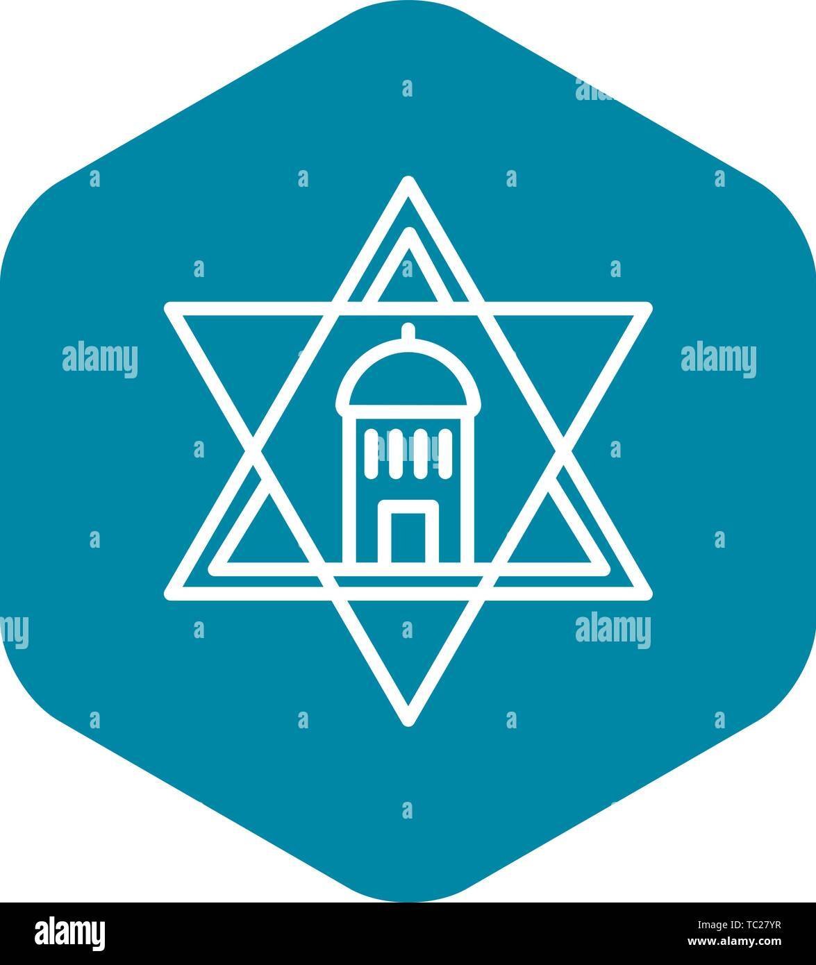 Jewish temple star icon, outline style - Stock Vector