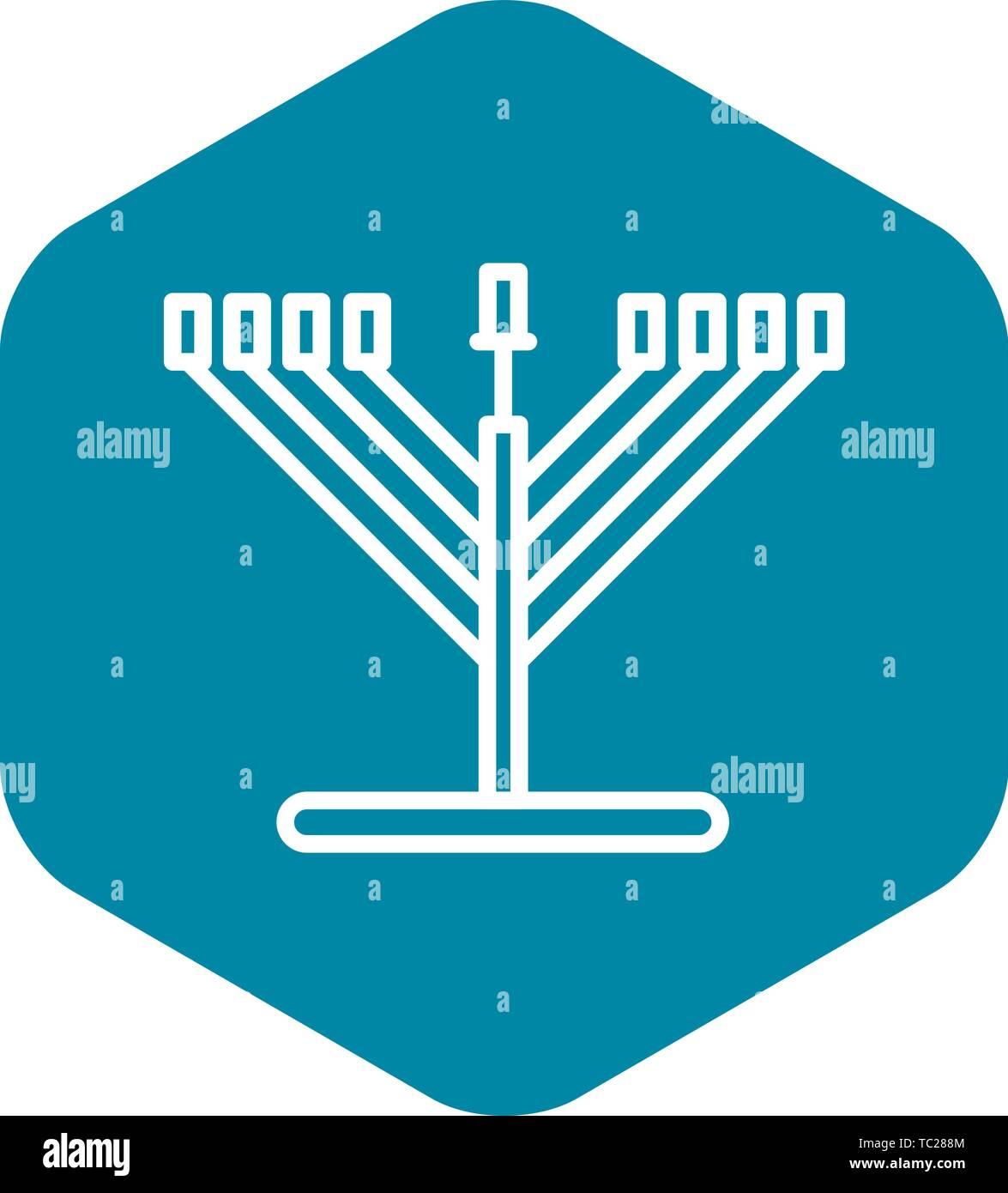 Candle stand icon, outline style - Stock Vector