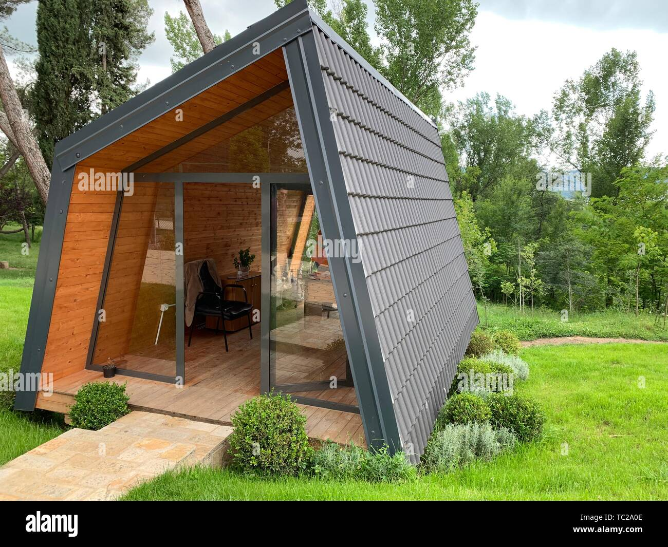 Small Wooden Cabin House Exterior Design Stock Photo Alamy