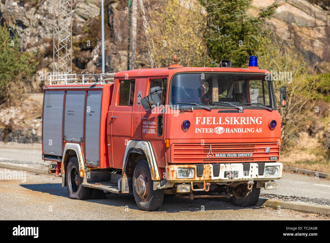 BERGEN, NORWAY - April 14, 2019: Old firefighters vehicle on street in Bergen, Norway. Stock Photo